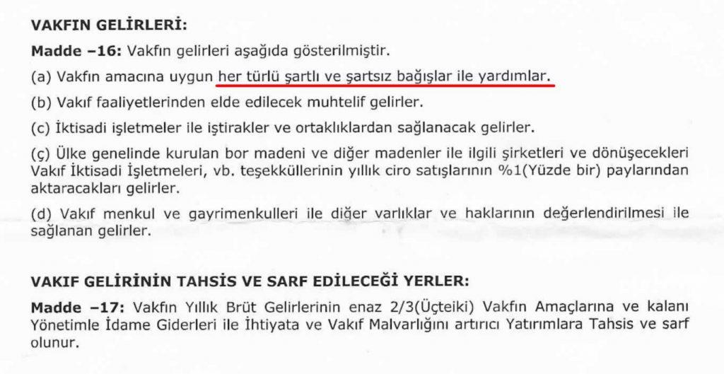 Anadolu Bor Vakfı - Vakfın Gelirleri