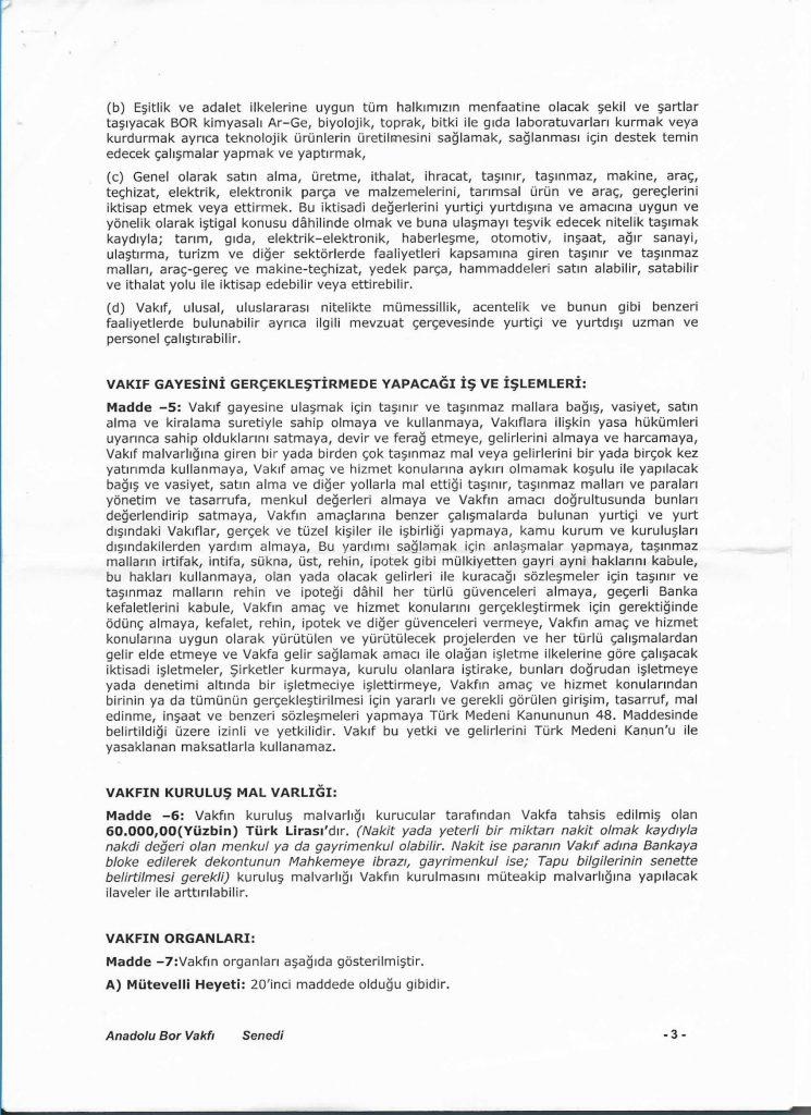 Anadolu Bor Vakfı - Vakıf Senedi